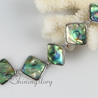rhombus seawater rainbow abalone shell mother of pearl toggle charms bracelets