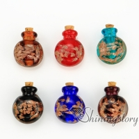 round glitter murano glass hand craft lampwork glassperfume vialsnecklace urnsnecklace urn for ashes