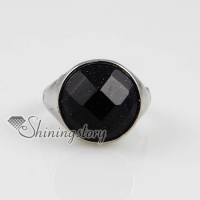 round semi precious stone finger rings jewelry for man