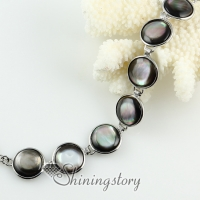 round teardrop oval sea water black oyster shell mother of pearl toggle charms bracelets