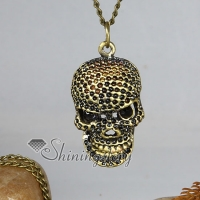 skull copper antique long chain pendants necklaces