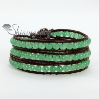 stone beads three layer leather wrap bracelets