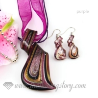 streamer foil venetian murano glass pendants and earrings jewelry