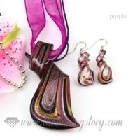 streamer foil venetian murano glass pendants and earrings jewelry
