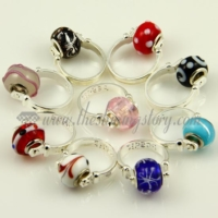 swirled murano glass large hole beads finger rings jewelry