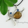 teardrop leaf glass opal tiger's-eye semi precious stone rhinestone openwork necklaces with pendants